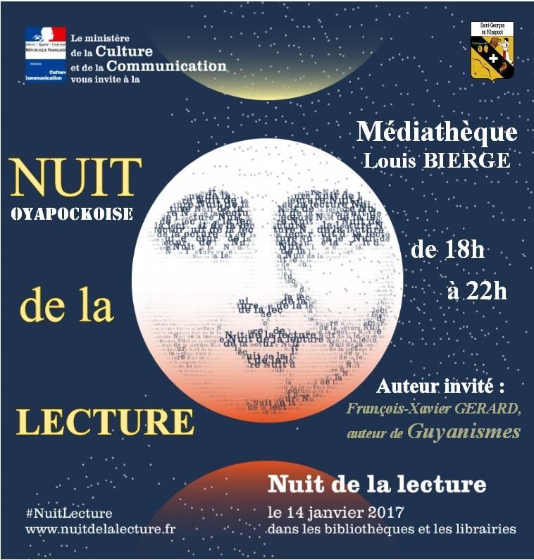 Affiche de la nuit de la lecture, le 14 janvier 2017, à Saint Georges de l'Oyapock